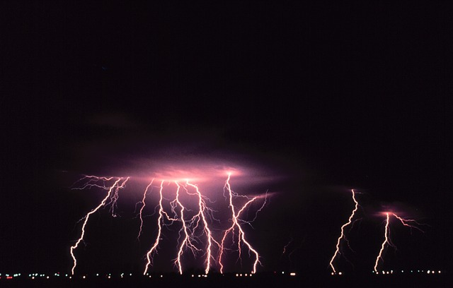 Multiple lightening strikes hitting the earth