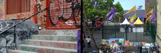 Two communities: Urban grafitti and school fete