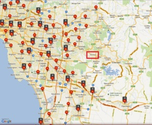 Location of McDonald's in Melbourne