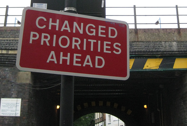 Sign - Changed Priorities Ahead