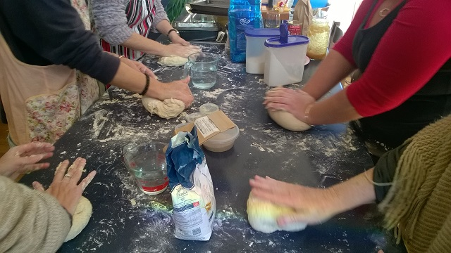 Some of our Transition Streets group learning to make bread