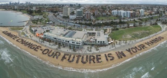 (Human sign at St Kilda Beach. Photo: Andrew North)