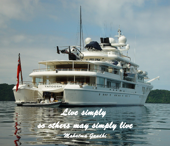 "Luxury yacht with quote ""Live simply so others may simply live"""