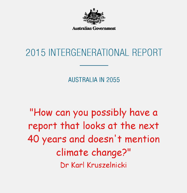 Cover of the Intergenerational report overview with quote from Dr Karl