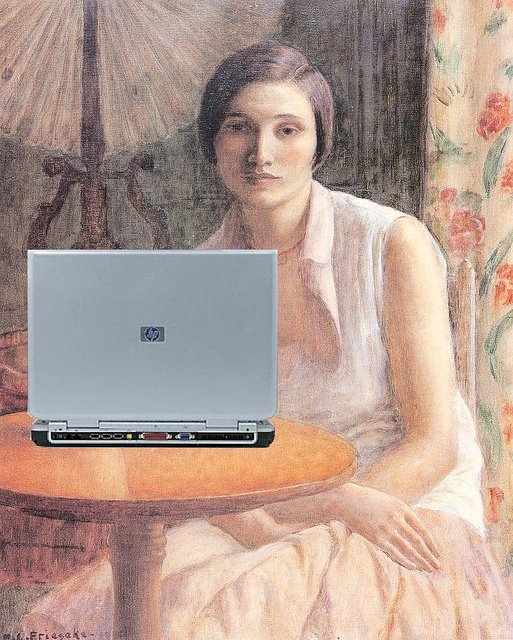 A painting by Frederick Carl Frieseke with a laptop added