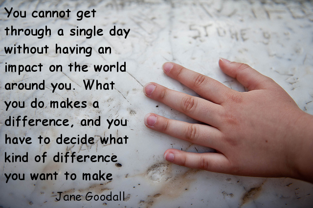Photo of hand with quote from Jane Goodall
