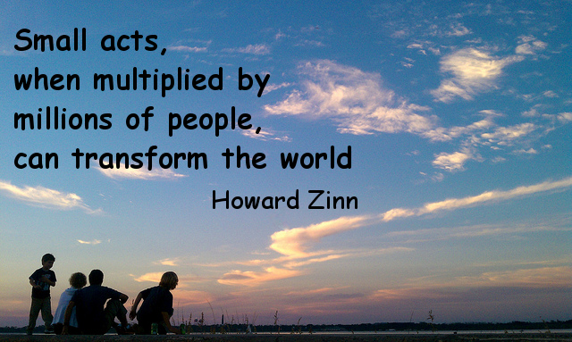 Small acts, when multiplied by millions of people, can transform the world. (Howard Zinn)