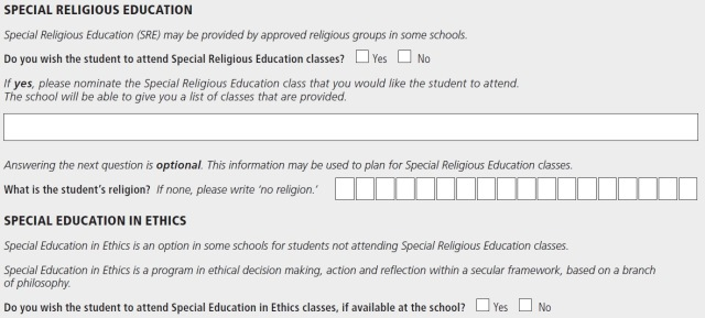(From the 2015 Application to enrol in a NSW Government school)