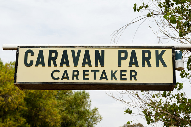 caravan park caretaker sign