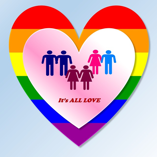 Gay and straight couples in a rainbow couloured heart