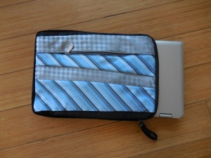 A laptop bag Cathy made out of old ties
