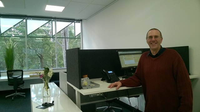 Graeme Stuart in his new office