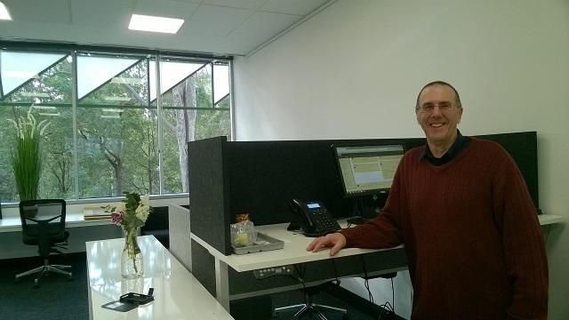 Graeme Stuart in his new office