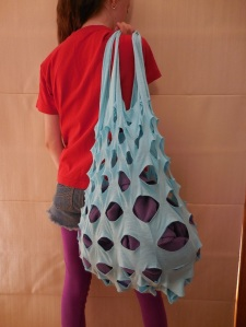 A bag Cathy made out of an old T-shirt