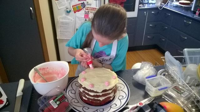 Alexa making her own birthday cake