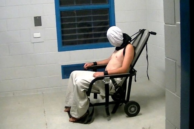 A 17 year old boy strapped to a restraint chair (Photo: ABC)