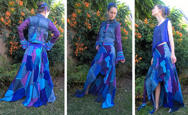 An upcycled dress made by Cathy and modeled by Jasmine