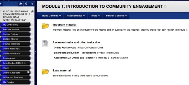 Screenshot of the Module 1 folder in Blackboard