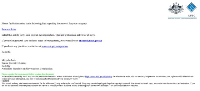 Copy of ASIC scam email
