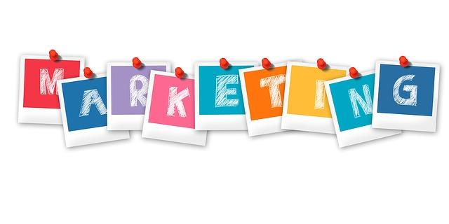 Marketing written in colourful letters