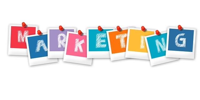 Marketing written in colourful letters